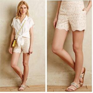 Anthro Cartonnier High Waist Lace Shorts